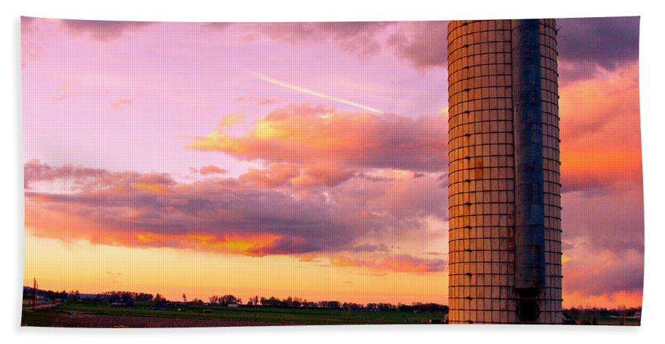 Sunrise Bath Sheet featuring the photograph Rural Boulder County Sunset by James BO Insogna