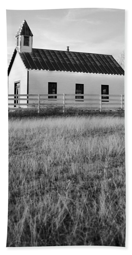 Black And White Hand Towel featuring the photograph Rural Church Black And White by Jill Reger