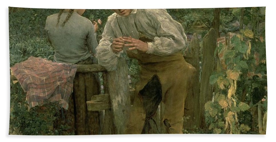 Valentine's Day Hand Towel featuring the painting Rural Love by Jules Bastien Lepage