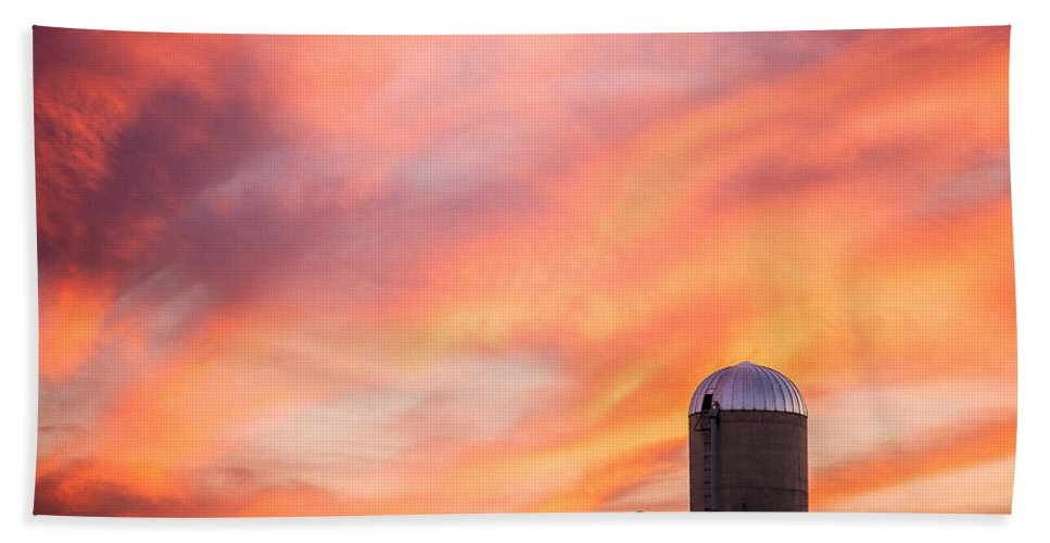 Silos Hand Towel featuring the photograph Rural Skies by Todd Klassy