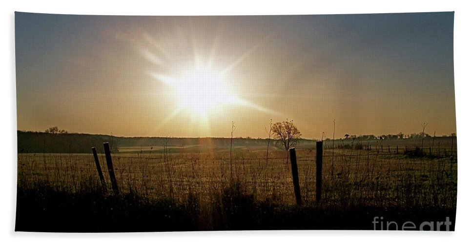 Color Photography Bath Sheet featuring the photograph Rural Sunrise by Sue Stefanowicz