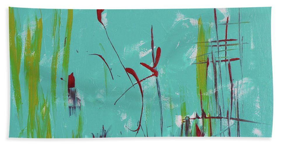 Top Bath Sheet featuring the painting Rushes And Reeds by Paulette B Wright
