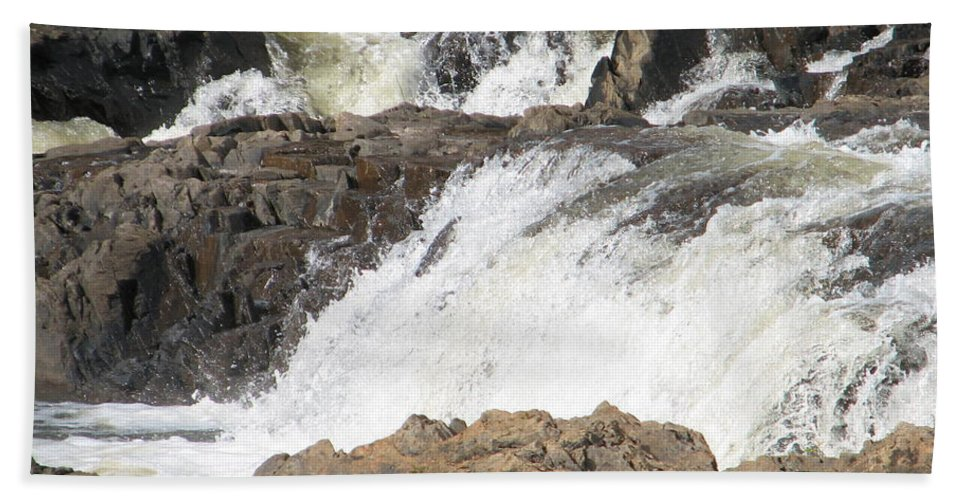 Waterfall Hand Towel featuring the photograph Rushing by Kelly Mezzapelle