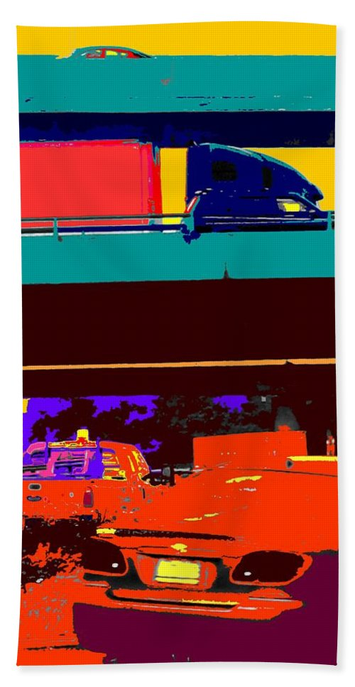 Cars Hand Towel featuring the digital art Rushing To Nowhere by Ian MacDonald