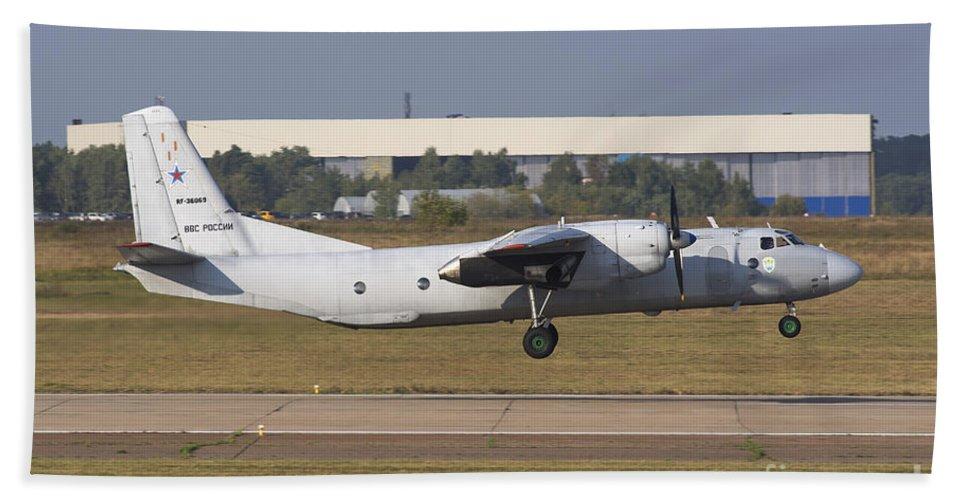 Horizontal Bath Sheet featuring the photograph Russian Air Force An-26 Taking by Daniele Faccioli
