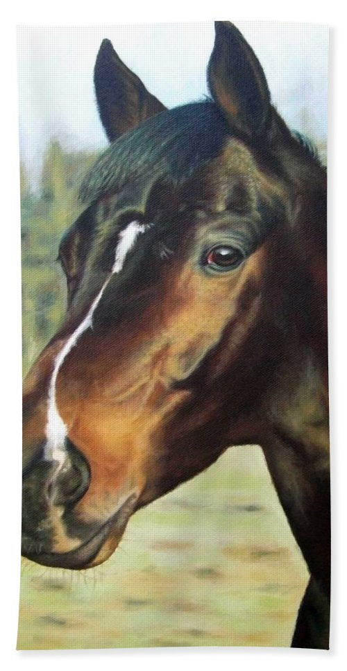 Horse Bath Towel featuring the painting Russian Horse by Nicole Zeug