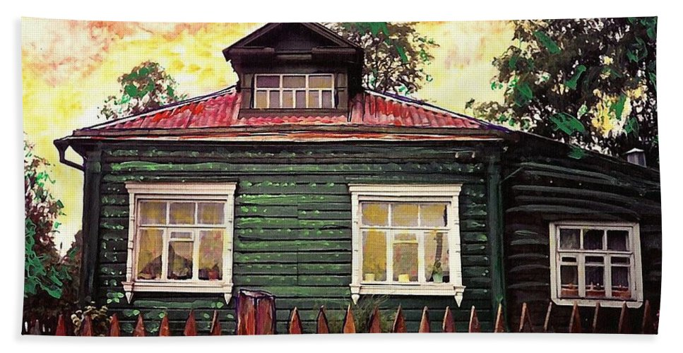 Russia Hand Towel featuring the mixed media Russian House 2 by Sarah Loft