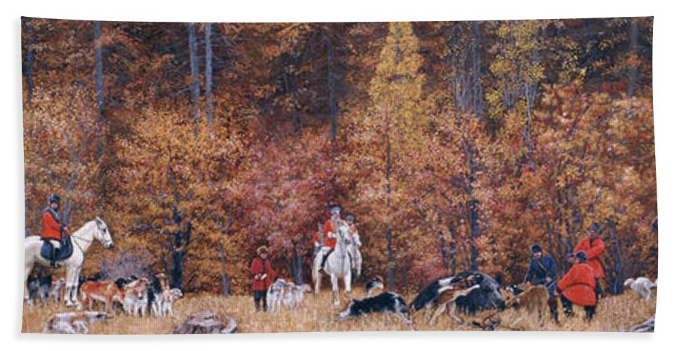 Russian Hand Towel featuring the painting Russian Hunting by Simon Kozhin
