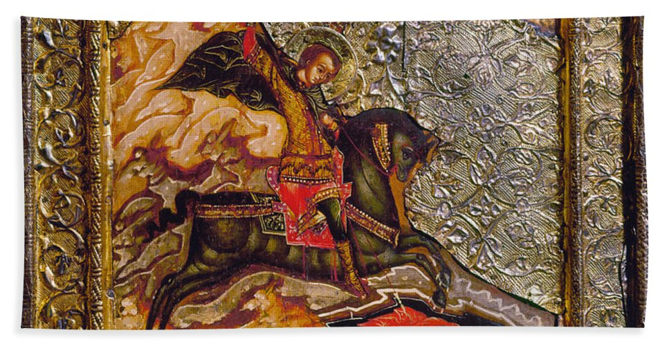 17th Century Hand Towel featuring the photograph Russian Icon: Demetrius by Granger