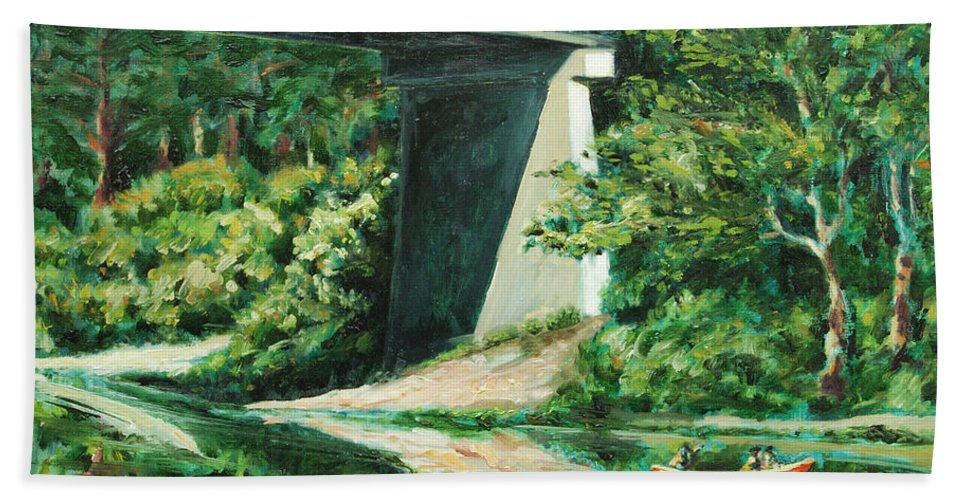 River Bath Towel featuring the painting Russian River by Rick Nederlof