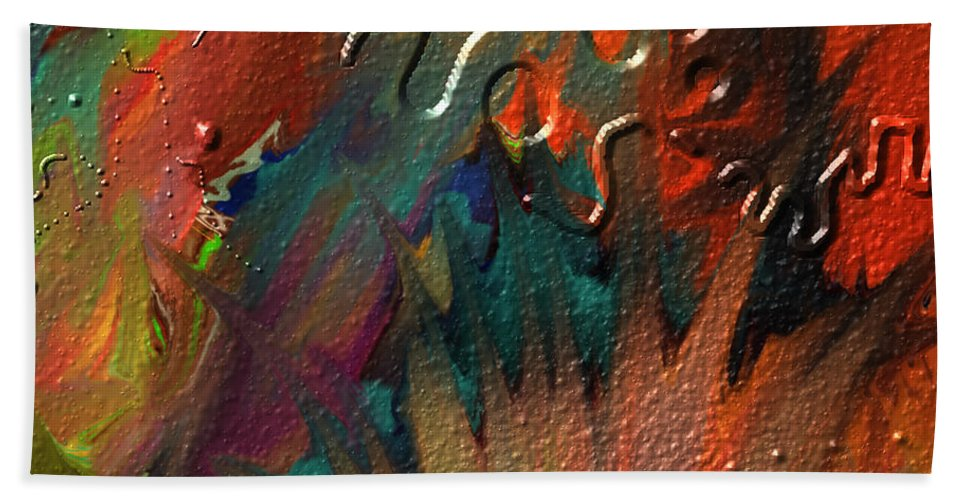 Abstract Hand Towel featuring the painting Rust Never Sleeps by Kevin Caudill