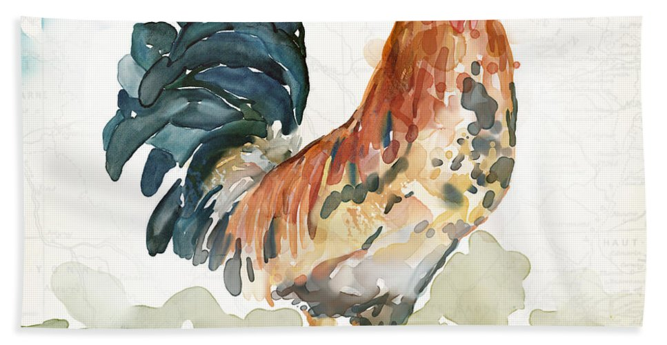Farm Bath Towel featuring the painting Rust Rooster by Mauro DeVereaux