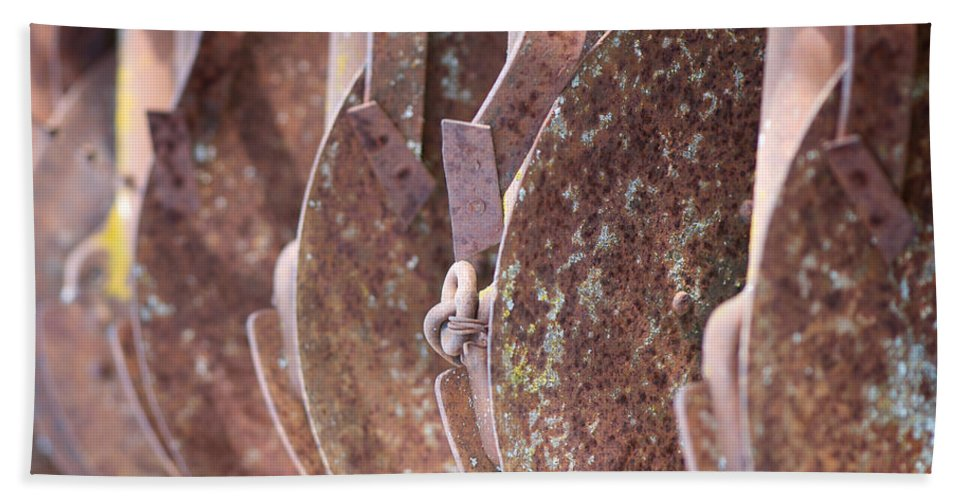 Lisa Knechtel Bath Sheet featuring the photograph Rusted Blades by Lisa Knechtel