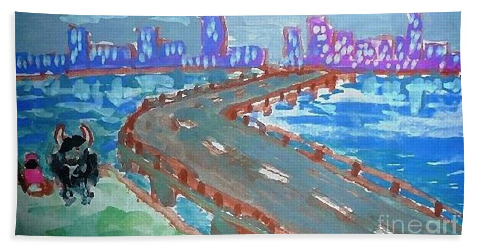 Bridge Hand Towel featuring the painting Rustic-city by Ayyappa Das