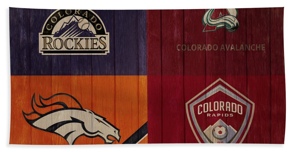 Denver Sports Teams Barn Door Bath Sheet featuring the mixed media Rustic Denver Sports Teams by Dan Sproul