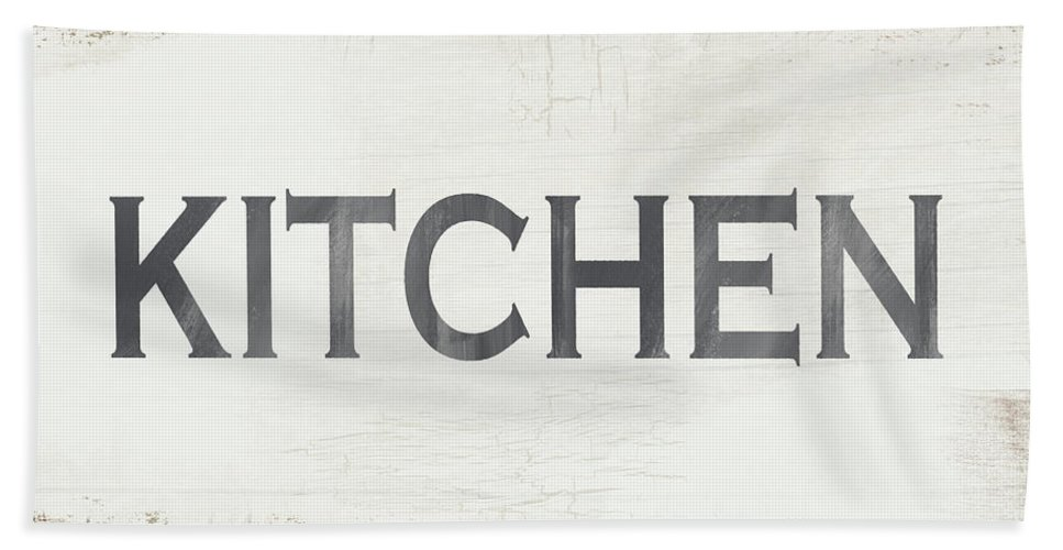Kitchen Bath Towel featuring the painting Rustic Kitchen Sign- Art By Linda Woods by Linda Woods