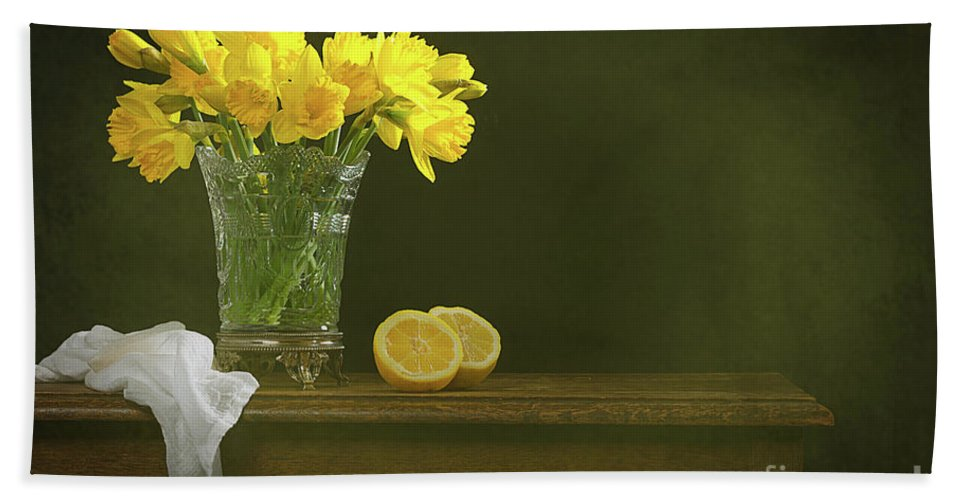 Bunch Hand Towel featuring the photograph Rustic Still Life With Daffodils by Amanda Elwell