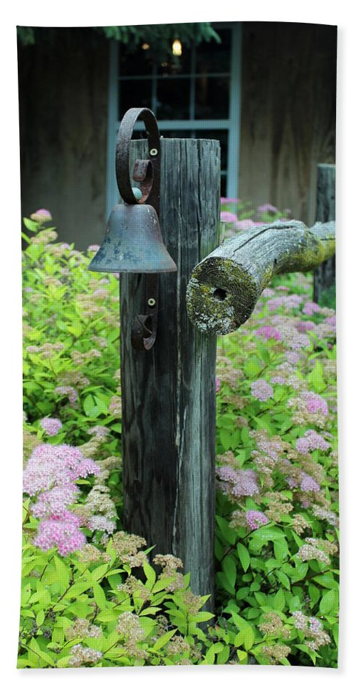 Rusty Bath Sheet featuring the photograph Rusty Bell On Weathered Fence by Anita Hiltz