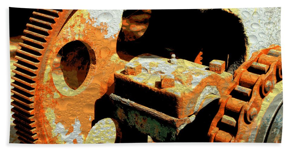 Rusty Hand Towel featuring the photograph Rusty Gears by Carol Groenen