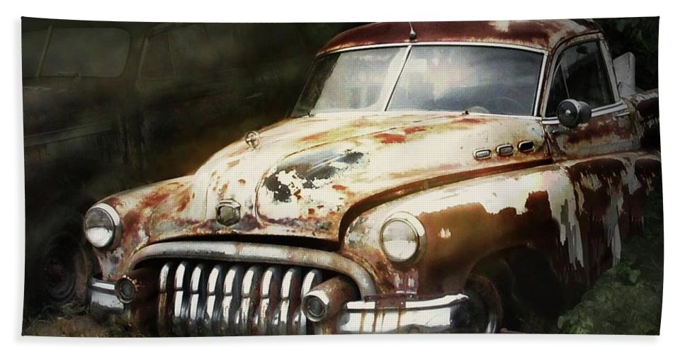 Old Car Hand Towel featuring the digital art Rusty Ghost by Faye English