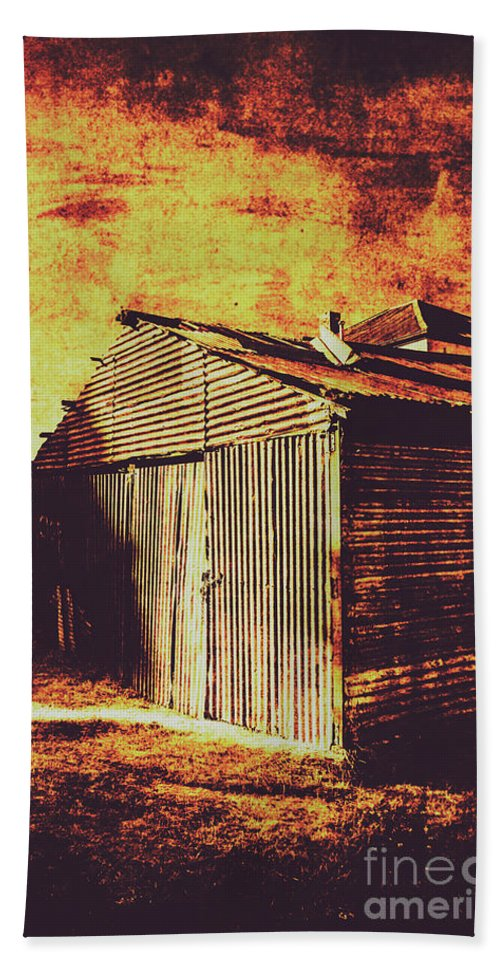 Dilapidated Bath Towel featuring the photograph Rusty Outback Australia Shed by Jorgo Photography - Wall Art Gallery