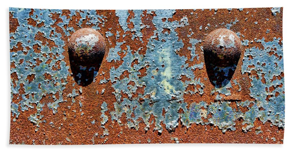 Rivet Bath Towel featuring the photograph Rusty Rivets by Olivier Le Queinec