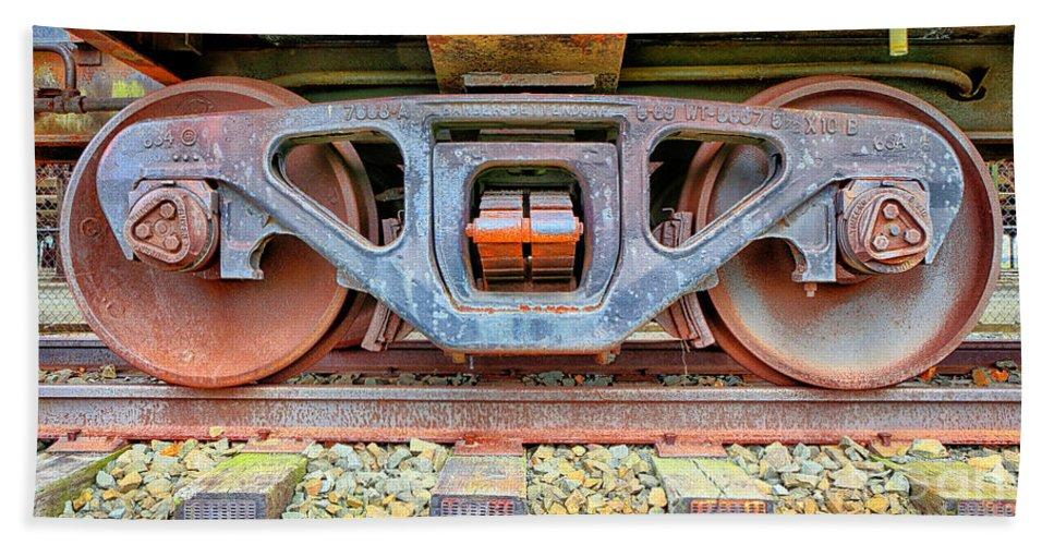 Railway Bath Sheet featuring the photograph Rusty Wheels by Paul Fell