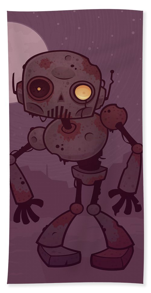 Zombie Hand Towel featuring the digital art Rusty Zombie Robot by John Schwegel