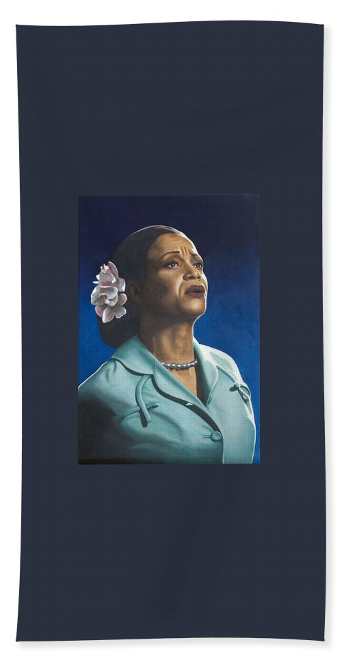 Portrait Bath Sheet featuring the painting Ruth Jacott by Rob De Vries
