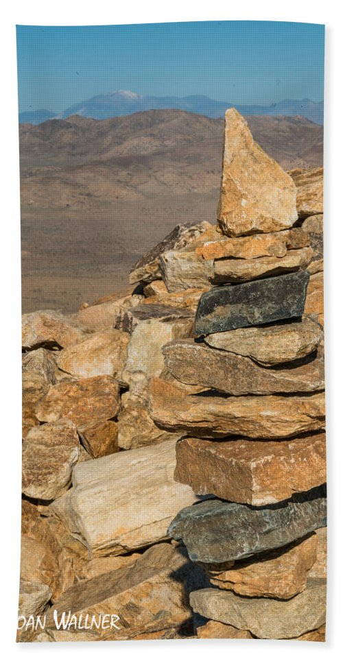 Cairn Bath Sheet featuring the photograph Ryan Mountain Cairn by Joan Wallner