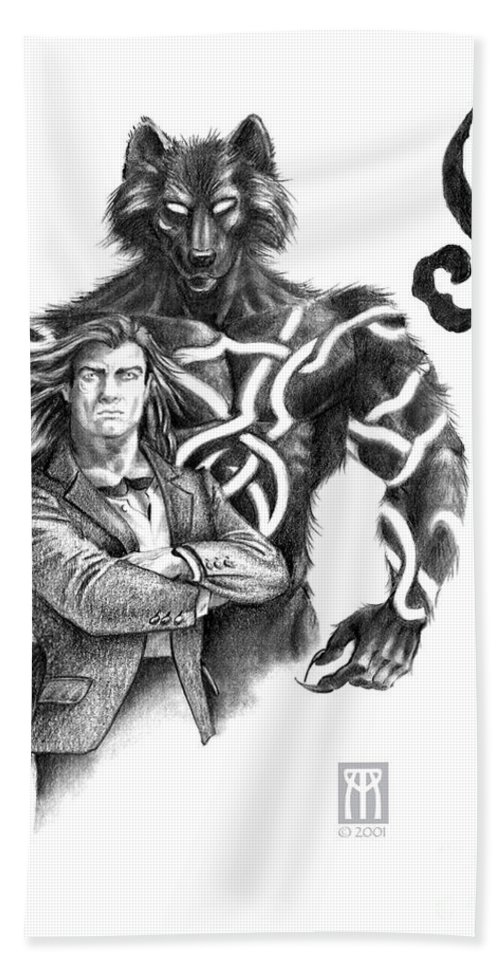 Werewolf Hand Towel featuring the drawing Ryan With Werewolf by Melissa A Benson