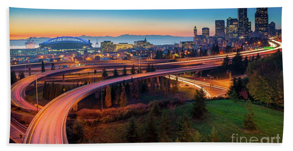 Seattle Bath Sheet featuring the photograph S For Seattle by Inge Johnsson