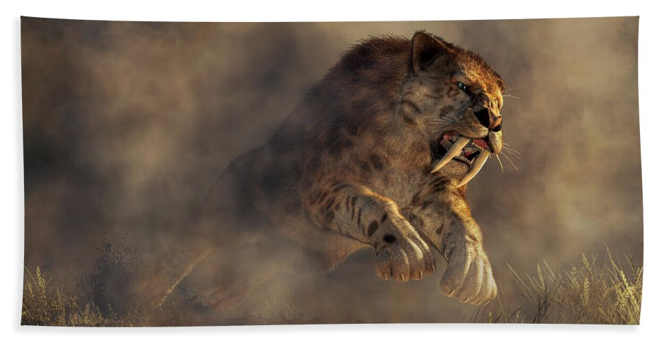 Sabre Tooth Pounce Bath Towel featuring the digital art Sabre Tooth Pounce by Daniel Eskridge