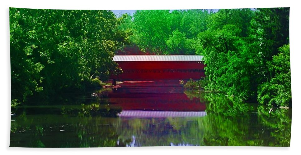 Sach's Hand Towel featuring the photograph Sachs Covered Bridge - Gettysburg Pa by Bill Cannon