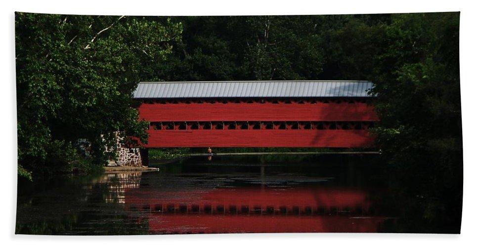 Sacks Bridge Gettysburg Hand Towel featuring the painting Sacks Bridge Gettysburg by Eric Schiabor