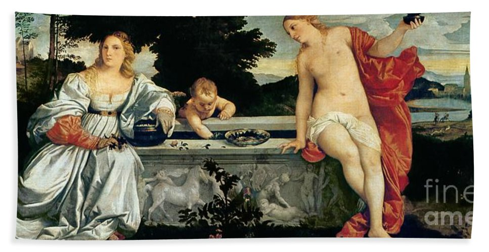 Sacred Hand Towel featuring the painting Sacred And Profane Love by Titian
