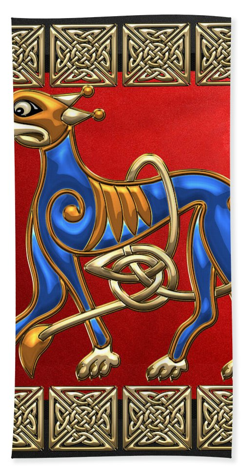 'celtic Tresures' Collection By Serge Averbukh Bath Towel featuring the digital art Sacred Celtic Lion On Red And Black by Serge Averbukh