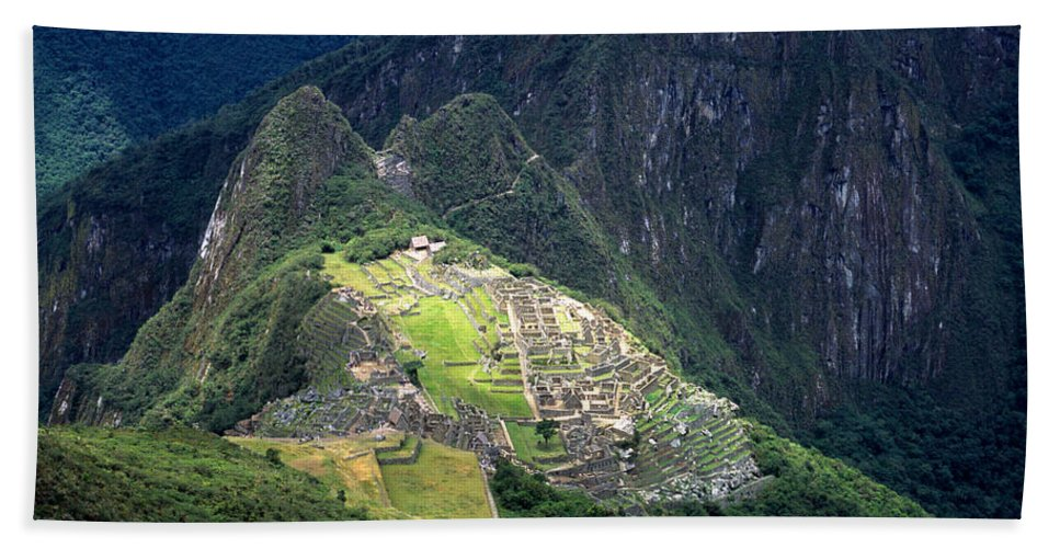 Machu Picchu Hand Towel featuring the photograph Sacred City Of Machu Picchu by James Brunker