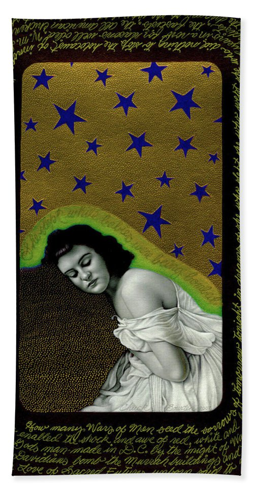 Photorealism Bath Sheet featuring the drawing Sacred Futures Unborn by Chuck Bowden