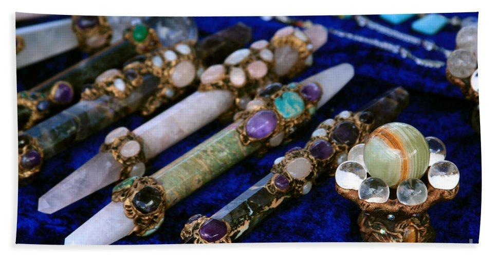 Aloha Hand Towel featuring the photograph Sacred Gemstones Energy Amulets Crystal Balls Magic Wands by Sharon Mau