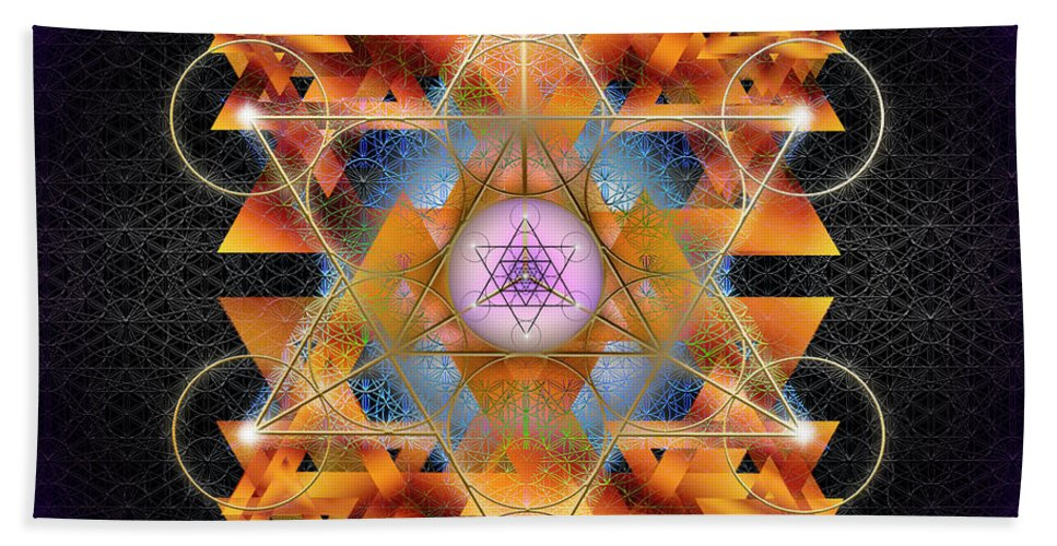 Endre Hand Towel featuring the digital art Sacred Geometry 701 by Endre Balogh