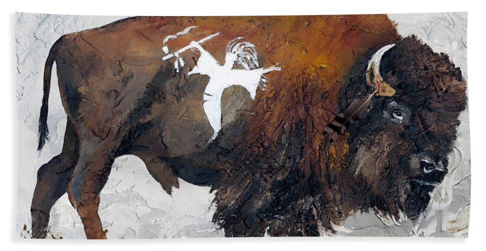 Southwest Art Bath Towel featuring the painting Sacred Gift by J W Baker
