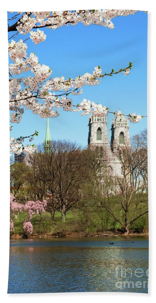 Branch Brook Park Cherry Blossoms 2013 Hand Towel featuring the photograph Sacred Heart And Branch Brook Cherry Blossoms by Regina Geoghan
