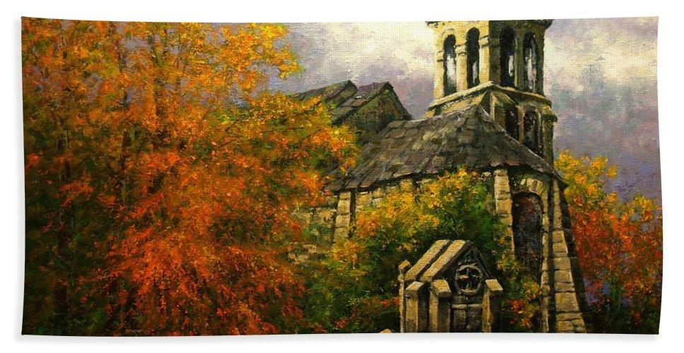 Paris Bath Sheet featuring the painting Sacred Heart Chapel Paris by Jim Gola