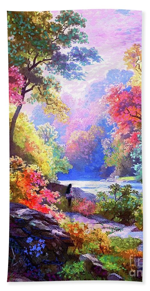 Landscape Bath Towel featuring the painting Sacred Landscape Meditation by Jane Small
