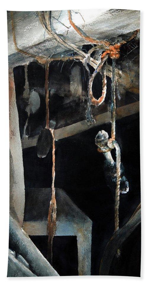 Abstract Bath Towel featuring the painting Sacrifice by Rachel Christine Nowicki