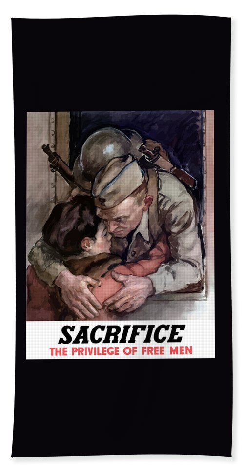 Soldier Hand Towel featuring the painting Sacrifice - The Privilege Of Free Men by War Is Hell Store