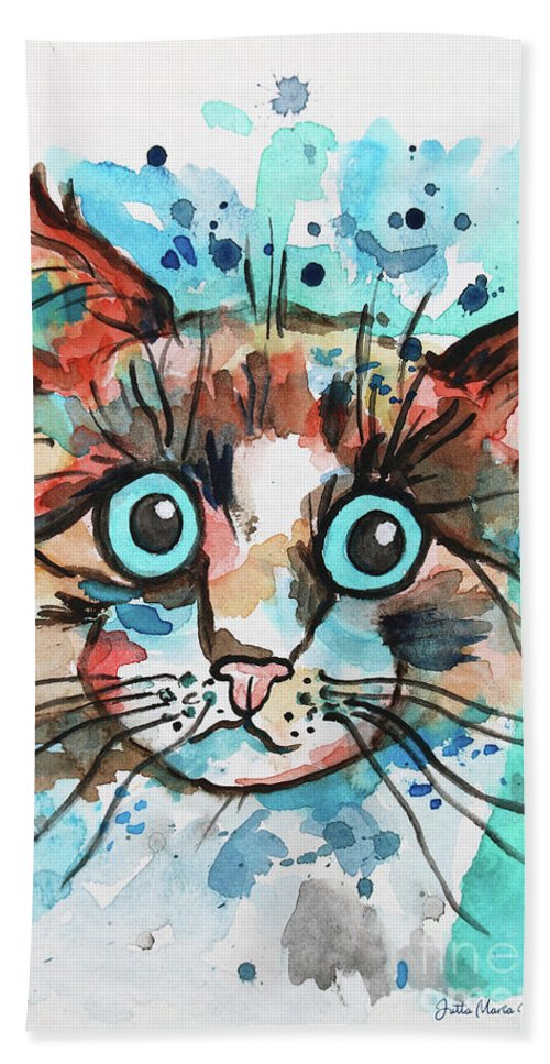Paint Bath Towel featuring the painting Sad Cat by Jutta Maria Pusl
