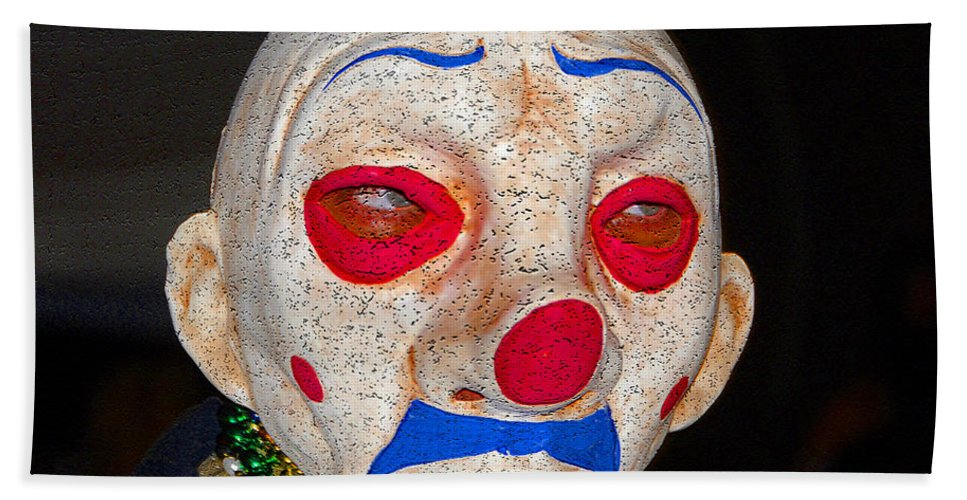Sad Hand Towel featuring the painting Sad Clown by David Lee Thompson