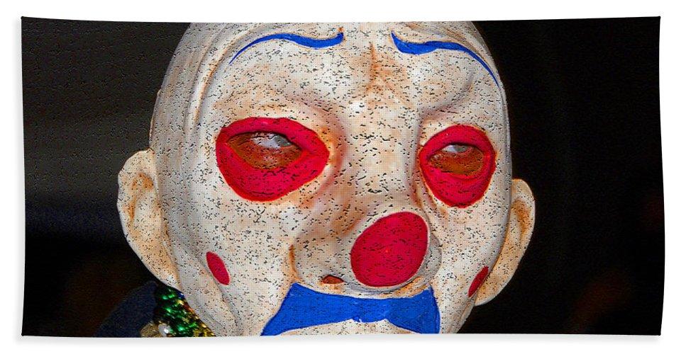 Sad Bath Sheet featuring the painting Sad Clown by David Lee Thompson